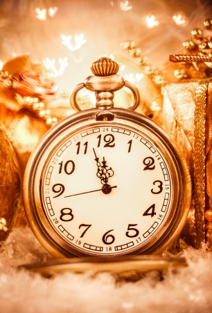 Christmas pocket watch still life. photo