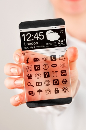 Smartphone (phablet) with a transparent display in human hands. Concept actual future innovative ideas and best technologies humanity. photo