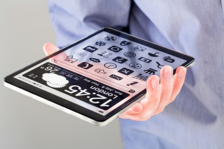Tablet with a transparent display in human hands. Concept actual future innovative ideas and best technologies humanity. photo