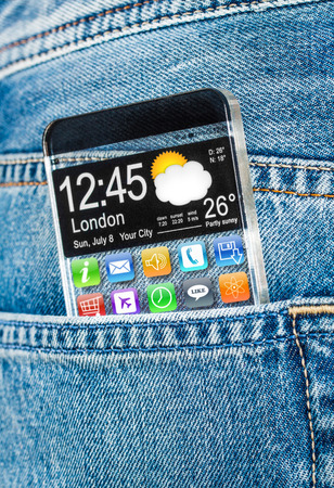 Futuristic Smart phone (phablet) with a transparent display in a pocket of jeans. Concept actual future innovative ideas and best technologies humanity. photo