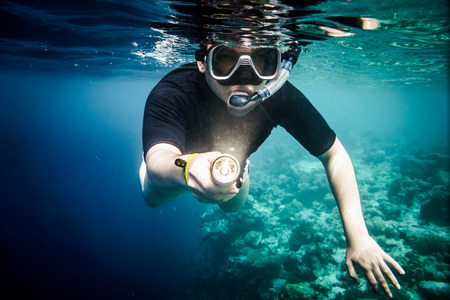 flashlight: Snorkeler diving along the brain coral with flashlight Stock Photo