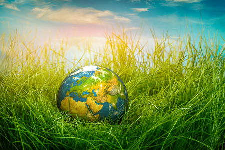 Globe lies on green grass. Concept - Earth Day. photo