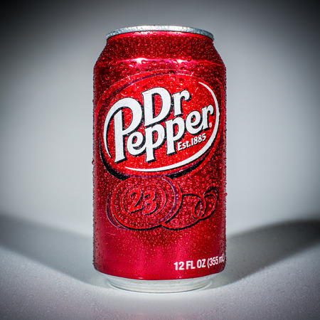 dr: MOSCOW, RUSSIA-APRIL 4, 2014: Can of Dr Pepper soft drink. Dr Pepper is a soft drink marketed as having a unique flavor. The drink was created in the 1880s. Editorial