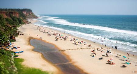 tilt shift: Beach on the Indian Ocean, India Stock Photo