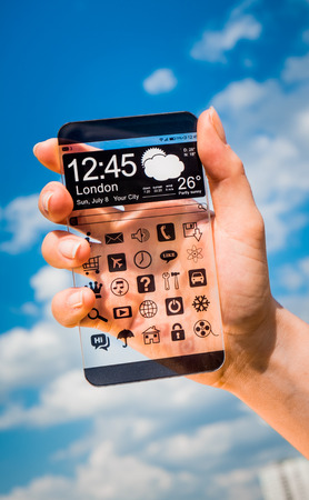 computer screens: Futuristic Smart phone (phablet) with a transparent display in human hands. Concept actual future innovative ideas and best technologies humanity.
