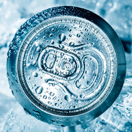 soft object: Can of soft drink on ice.