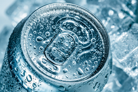 fizzy: Can of soft drink on ice.