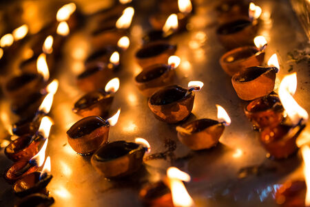 indian tradition: Burning candles in the Indian temple. Diwali – the festival of lights.