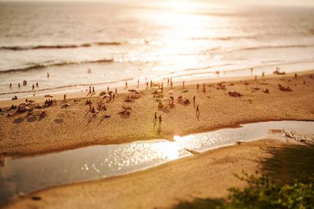 tilt shift: Timelapse Beach on the Indian Ocean. India (tilt shift lens). Stock Photo