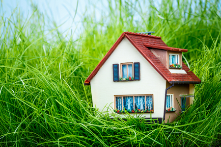 residential building insurance: Little House on the green grass Stock Photo