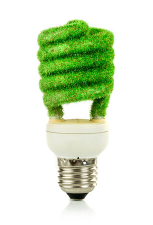 overuse: Eco light bulb isolated on white background