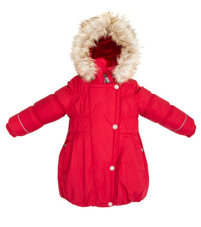 ropa de invierno: Niños Mujeres chaqueta de invierno aislados en fondo blanco.
