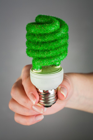 overuse: Eco light bulb in hand on gray background