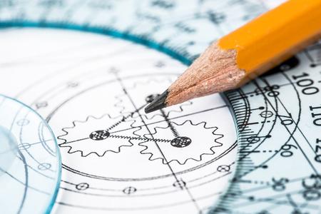 close range: Drawing detail and pencil close-up Stock Photo