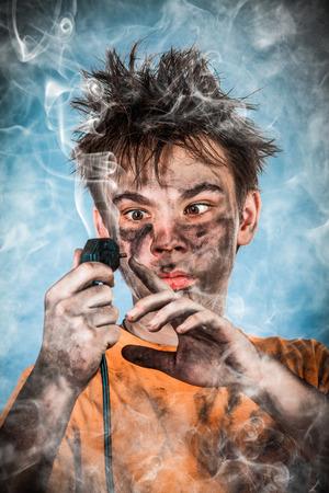 Boy has a electric shock photo
