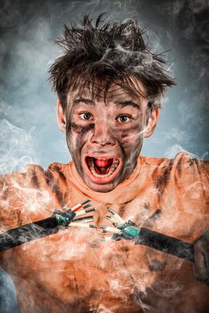 electrifying: Boy has a electric shock