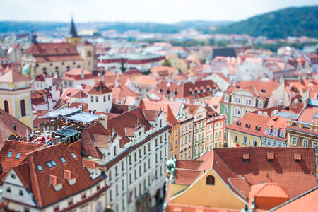 Prague view of the city from above. Tilt shift lens. photo