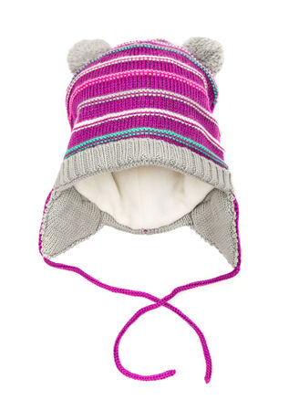 Childrens winter hat isolated on a white background. photo