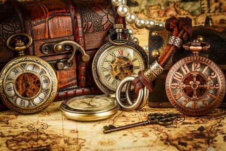 clocks: Vintage Antique pocket watch. Vintage grunge still life.