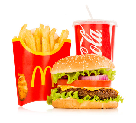 finger food: MOSCOW, RUSSIA-October 6, 2014: McDonalds food. McDonalds Corporation is the worlds largest chain of hamburger fast food restaurants, serving around 68 million customers daily in 119 countries