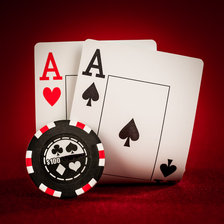 gambling chip: Stack of chips and two aces