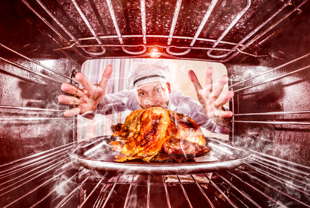 thanksgiving turkey birds: Funny chef overlooked roast chicken in the oven, so she had scorched, view from the inside of the oven. Cook perplexed and angry. Loser is destiny!