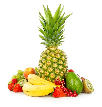 Assortment of exotic fruits isolated on white Stock Photo