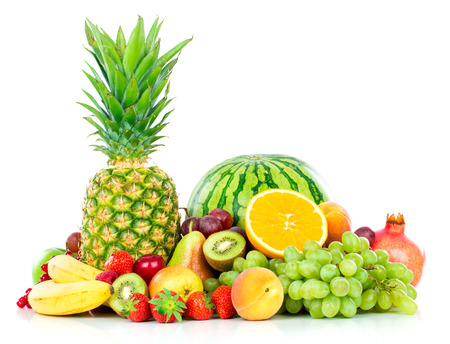 varieties: Assortment of exotic fruits isolated on white Stock Photo