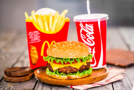MOSCOW, RUSSIA-October 6, 2014: McDonalds food. McDonalds Corporation is the worlds largest chain of hamburger fast food restaurants, serving around 68 million customers daily in 119 countries