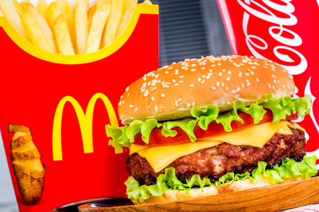 foodie: MOSCOW, RUSSIA-October 6, 2014: McDonalds food. McDonalds Corporation is the worlds largest chain of hamburger fast food restaurants, serving around 68 million customers daily in 119 countries