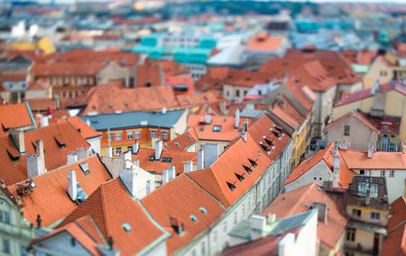 tilt view: Prague view of the city from above. Tilt shift lens.