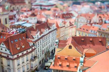 old town square: Prague view of the city from above. Tilt shift lens.
