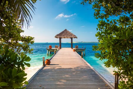 destination wedding: Maldives, a place on the beach for weddings. Stock Photo