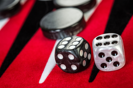 backgammon: Backgammon Red Board with Dice
