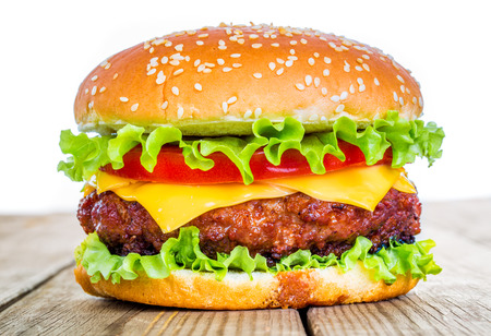 Tasty and appetizing hamburger cheeseburger Stock Photo