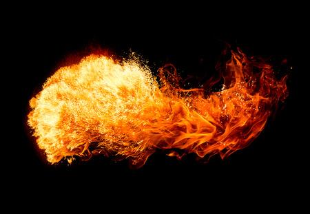 detonation: Fire isolated on black background. Stock Photo