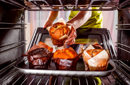baking oven: Baking muffins in the oven, view from the inside of the oven. Cooking in the oven.