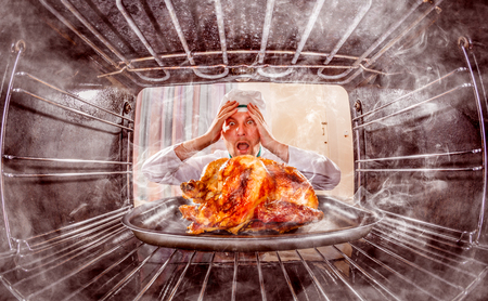Funny chef overlooked roast chicken in the oven, so she had scorched, view from the inside of the oven. Cook perplexed and angry. Loser is destiny! photo
