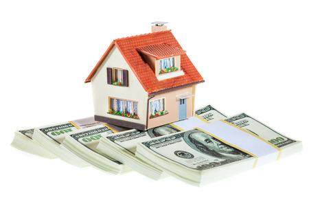 紙幣は、白い背景で隔離のパックの家