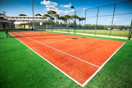 sideline: tennis court close-up background Stock Photo