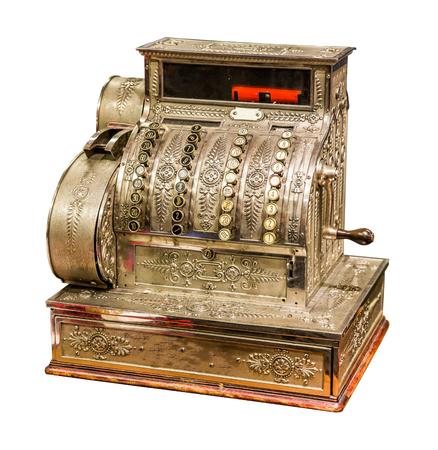 to cash: Caja registradora antigua Vintage aislado sobre fondo blanco Foto de archivo