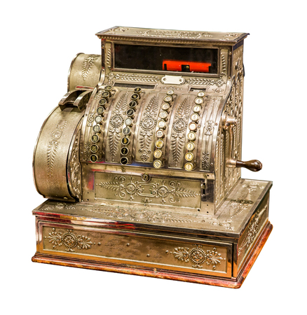 financial cash: Vintage old cash register isolated on white background