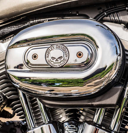 sportster: RUSSIA-JULY 7, 2013: Harley-Davidson v-twin Sportster 883. Harley-Davidson sustains a large brand community which keeps active through clubs, events, and a museum. Filter applied in post-production. Stock Photo