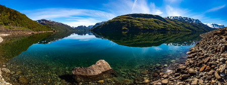 Panorama Beautiful Nature Norway natural landscape.