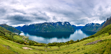 landscape nature: Panorama Hardanger fjorden. Beautiful Nature Norway natural landscape. Stock Photo