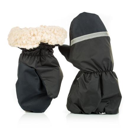 mittens: Childrens autumn-winter mittens on a white background