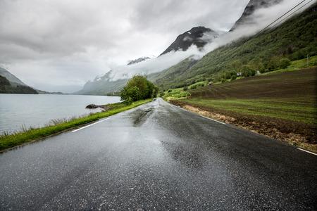 single lane road: Mountain road in Norway.