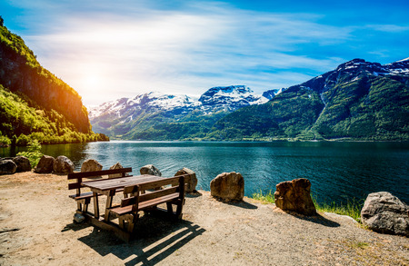 Piękna przyroda Norwegia naturalny krajobraz. Zdjęcie Seryjne