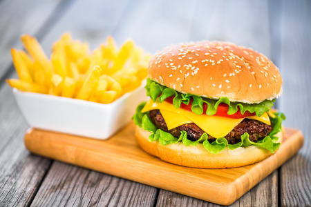 fastfood: Tasty and appetizing hamburger cheeseburger Kho ảnh