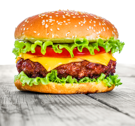 gourmet burger: Tasty and appetizing hamburger cheeseburger Stock Photo